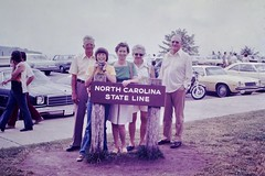 Found Photo - Family at the North Carolina State Line (Mark 2400) Tags: found photo north carolina state line sign family 1970s