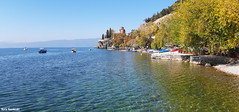 October view (borisnaumoski) Tags: ohrid macedonia lake landscape sunny october autumn nature church beach