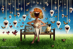 Dental Phobia (Brigitte Graf GrafFotoGrafY) Tags: dental phobia fear anxiety tooth teeth zahn angst phobie albtraum nightmare surreal photo manipulation composing photoshop blue lady mops bank butterfly butterflies schmetterling creative kreativ fotomontage