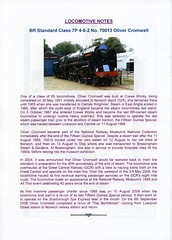00b Locomotive Notes. The Norfolkman. Saturday 2nd July 2011. London Liverpool Street to Norwich & Cambridge. The Railway Touring Company img281 (Clementinos2009) Tags: 2011thenorfolkmansaturday2ndjuly railwaytouringcompany 70013olivercromwell