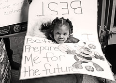 Her Future is Worth Fighting For. (kirstiecat) Tags: child kid chicagoteachersunion publiceducation chicago strike teachers humanrights socialjustice monochrome blackandwhite blancoynegro noiretblanc lorilightfoot socialism capitalism politics liberal classism sustainability racism ctu