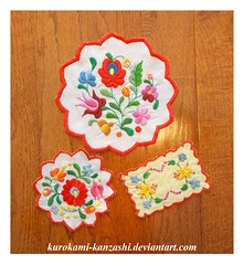Embroidery Practice (Kurokami) Tags: lindsay ontario canada antique embroidered embroidery europe fabric floral flower flowers hungarian hungary natural nature needlework rainbow red rose supplies thread vintage matyo old european