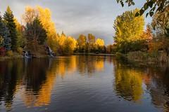 Golden Sunset (Lisa Roeder) Tags: landscapes idaho fallcolors autumn reflections sunset