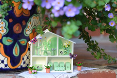 Miniature Milk Glass Collection in the Little House (Moonrabbit_ly) Tags: miniature milkglass collection dollhouse