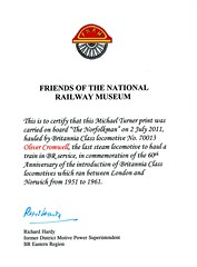19b 2011 Friends of the National Railway Museum. Rule Britannia! Print by Michael Turner img553 (Clementinos2009) Tags: 2011thenorfolkmansaturday2ndjuly railwaytouringcompany 70013olivercromwell norwich dickrhnhardy friendsofthenationalrailwaymuseum michaelturner