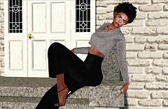 Chic Girl (kare Karas) Tags: woman lady femme girl girly sweet cute beauty pretty elegance chic sl secondlife virtual avatar outdoors city urban autumn october events mesh bento colors huds fashion spam blogger spammer heels sweater pants gaucho lipstick eyeliner hair moz senseevent ebentoevent elise jumo