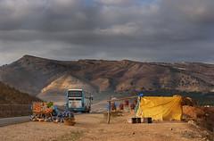 On the Chefchaouen Road (JLM62380) Tags: route morocco bus autobus tente sky ciel montagne chefchaouen road mountain