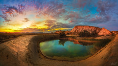 Bardenas Reales Panorama (jesbert) Tags: no people mountain landscape outdoors nature sky cloud sunset panoramic water bardenas reales navarra spain desert sun jesbert rodriguez sony a7r2 carl zeiss 16 35