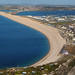 looking down at chesil beach and beyond