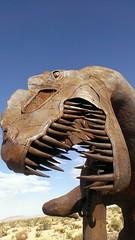 Tyrannosaurus Rex, Galleta Meadows Estate 8/2/2013 (ccbutch) Tags: metalsculpture galletameadowsestates ricardobreceda skyart roadtripusa geotagged ca california desert scrapmetel dinosaur tyrannosaurusrex sculpturegarden