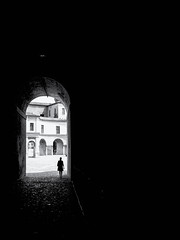 The Gate (Sandy...J) Tags: atmosphere atmosphäre blackwhite bw black white city contrast darkness dark durchgang fotografie olympus mono monochrom silhouette light licht street streetphotography sw schwarzweis strasenfotografie stadt shadow urban noir photography mood stimmung italy italien