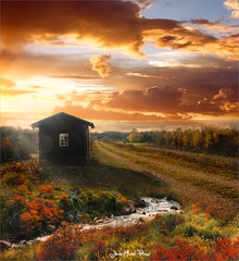 Window (Jean-Michel Priaux) Tags: paysage nature landscape cloud sunset strasbourg alsace france cabane cabin home pathway place colors hdr window path paint painting automne autumn