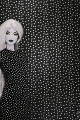 A-Z Challenge 3.0: C - Camouflaged (MARVEL_DOLLS) Tags: az dollphotography challenge camouflaged fashionroyalty fr nuface maliciousjasper victoireroux originalsculpt marvel comicbookcharacter copycat domino deadpool xforce shapeshifter partialreroot polkadots bw blackandwhite 16scale poupée puppe blondedoll