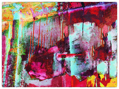color abstract #29 (Pomo photos) Tags: epl8 olympus surreal surrealism impressionism expressionism abstract abstraction color colored abandoned lost decay doubleexposure print prints magenta green yellow blue smudge digit digital photoshop city graffiti blood texture wall paint