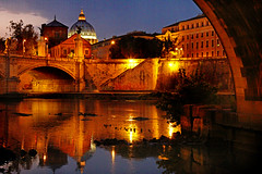 Aere Perennius (1crzqbn) Tags: roma dusk bluehour textures gold refractions reflections river graffiti light bridge 1crzqbn
