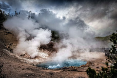 Beryl Spring (byron bauer) Tags: byronbauer thermal pool fumaroles steam vent hot water color geyser spring rain clouds sky storm suffer painterly heat caldera basin yellowstone topaz simplify restyle bubble boil national park cauldron