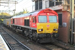 DB Cargo . 66020 . Bishop's Stortford , Hertfordshire . Thursday  24th-October-2019 . (AndrewHA's) Tags: hertfordshire bishopsstortford railway station db cargo class 66 diesel loco locomotive 66020 gm generalmotors america 6m21 harlow mill yard essex mountsorrel sidings leicestershire empty stone bogie box wagons aggregate