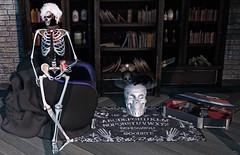 A break for snack (ThiegoFire) Tags: veilance rezzroom mooh mrrazzor skeleton terror game ouija art man boy guy catwa style halloween skull cat sofa books rug table fun funny backdropcove
