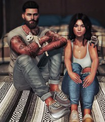 [ 📷 - 124 ] (insociable.sl) Tags: tattoo ink beard hug girlfriend bae love relax cute woman man female male girl boy companion animal pet kitty cat couple edit sl secondlife