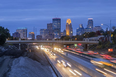 Minneapolis over 35W Traffic and Construction (Sam Wagner Photography) Tags: minneapolis fall autumn traffic highway freeway 35w trails blur long exposure construction blue hour twilight skyline skyscrapers downtown illuminated lights city urban minnesota mdiwest america usa travel