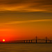 Sun rising over the Sunshine Skyway Bridge, St. Petersburg, Florida