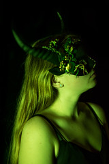 Green (Lin's Haugen) Tags: fairy woodland mask horned filter green portrait selfportrait canon