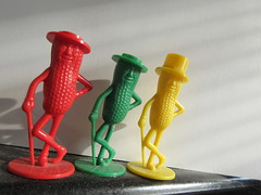 2019 Three Planters Mr Peanut Mascots Red Green Yellow 7328 (Brechtbug) Tags: 2019 three planters vintage mr peanut green red yellow plastic salt pepper shakers gentleman nut cane monocle spats formal wear advertising logo mascot toy toys top hat october 10242019 triplicate peanuts smiling surrealist pop art
