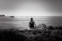 Relax (InfamousBoy) Tags: palma palmademallorca blackwhite schwarzweis bw girl girlfriend dream relax dreamy meditate meditation view oceanview aussicht ocean meer ozean boat boot sky himmel