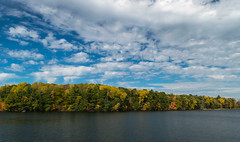 Michigan's Autumn Colors (2) (tquist24) Tags: hdr hardydampond michigan muskegonriver nikon nikond5300 outdoor autumn clouds fall foliage geotagged lake outside sky tree trees water