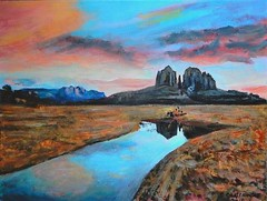Cathedral Rock Ya va pai County, Arizona - Acrylic Painting Done by STEVEN CHATEAUNEUF (2019) (snc145) Tags: art artist artists painting acrylic landscape scenery nature sky clouds mountains rocks texture water island reflections colors blue gray orange brown stevenchateauneuf 2019 flickrunitedaward desert cathedralrock yavapaicounty arizona theunforgettablepictures