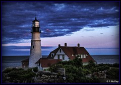 Portland Head Light at the blue hour (pandt) Tags: portland head light lighthouse capeelizabeth maine outdoor coast coastal ocean sky clouds evening sunset blue hour canon flickr eos slr t1i night