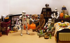The Host With The Most (ChicaD58) Tags: dscf9829a starwarsactionfigure actionfigure stormtrooper clonetrooper stormtrooperbruce tk1110 tk432 bobafett chewbacca hallowenepartymoviemarathon tv hauntedbookcase ghost pumpkin wingsinacauldron brewskies nuttycaramelapples hauntedgingerbreadhouse skull witchsbroom gargoylecandleholder bed lamp end table tissue plant mug coffeemaker commemorativedarthboitleofscotch doorprize lettheookeiwayinway