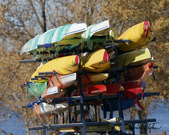 Headed To Winter Storage (dcstep) Tags: colorado cherrycreekstatepark usa allrightsreserved copyright2019davidcstephens dxophotolab3 dsc1652dxo boats storage sculling sculls colorful