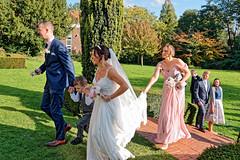 Hurry (Croydon Clicker) Tags: wedding bride groom maid people park tree lawn grass nikon sigma