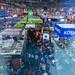 Internationale Spieltage SPIEL 19 in Essen: die größte Besuchermesse für Gesellschaftspiele. Aufnahme von oben