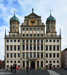 Augsburg - Rathaus (cnmark) Tags: building architecture bayern deutschland bavaria architektur townhall rathaus gebäude gemany augsburg rathausplatz blue sky clouds himmel wolken blauer rennaissance ©allrightsreserved eliasholl