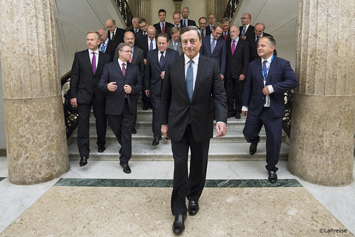 Mario Draghi leaving the Governing Council meeting in Naples, Italy