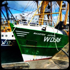 Maarten Luther (Julie (thanks for 9 million views)) Tags: 100xthe2019edition 100x2019 image89100 kilmorequay wexford fishingboat fence railings vessel boat green harbour ireland irish industry squareformat iphonese hipstamaticapp water
