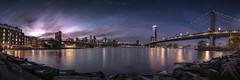 From Brooklyn to Manhattan (F&S Photos) Tags: panorama newyork paniramica blue night sony manhattan bridge nonpeople cityscape landscape lights skycraper skyline brooklyn river eastriver dumbo clouds sky sunset low light2