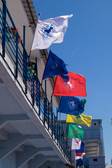 Flags of various organisations at a horse race
