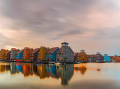 Reitdiep Groningen (kaveh zabihi) Tags: netherlands architect architecture travel traveling longexpose beautiful dutch house nature landscape home outside urban design nikkor water sky blue art clouds lake bridge longexposure 35mm fog countryside reitdiep groningen