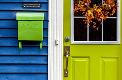 Green Mailbox (Karen_Chappell) Tags: green blue mail post mailbox door window house wreath orange wood wooden white trim paint painted stjohns downtown city urban rowhouse jellybeanrow clapboard sign canada nfld newfoundland eastcoast atlanticcanada avalonpeninsula colourful color colour colors colours multicoloured bright canonef24105mmf4lisusm