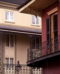 "New Orleans - French Quarter ""Contrasting Street Corners"" (David Paul Ohmer) Tags: louisiana french quarter new orleans cast iron balcony lamppost lantern"