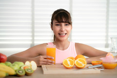 Asian girl make an orange juice by hand at home after finished exercise (I love landscape) Tags: drink exercise wear sportwear sport lemon squeezing oranges lemons sweet diet delicious natural fitness fit weight vitamin vegetarian organic health home make lady woman girl thai asian asia fresh breakfast person healthy orange lifestyle food juice kitchen female beautiful happy young fruit smiling glass adult meal table beauty vegan sportswear