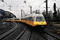 "Deutsche Bundesbahn (German Federal Railways) - DB Class ET 403 ""Lufthansa Airport Express"" entering Cologne train station in 1989 (HISTORICAL RAILWAY IMAGES) Tags: train eisenbahn locomotive db bundesbahn triebwagen lufthansaairportexpress cologne hbf köln et403"