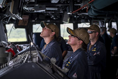 Officers stand watch aboard USS William P. Lawrence (DDG 110).