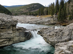 Elbow Falls (annkelliott) Tags: alberta canada swofcalgary elbowfallstrail highway66 elbowfalls nature landscape scenery waterfall river water rocks erosion flooderosion forest trees picnictable hills mountain outdoor fall autumn 24october2019 canon sx60 canonsx60 powershot annkelliott anneelliott ©anneelliott2019 ©allrightsreserved
