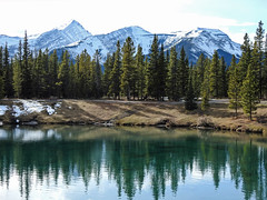 Forgetmenot Pond (annkelliott) Tags: alberta canada swofcalgary forgetmenotpond manmade landscape scenery lake pond water reflections trees forest mountain peak snowcovered outdoor fall autumn 24october2019 nikon p900 nikonp900 coolpix annkelliott anneelliott ©anneelliott2019 ©allrightsreserved