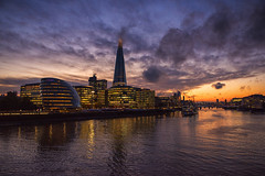 City Sunset (Tracey Whitefoot) Tags: 2019 october tracey whitefoot london city cityscape sunset dusk river thames southbank south bank hall shard more place capital evening autumn