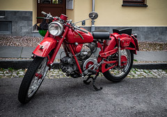 a wonderful classic Moto Guzzi (Peters HDR hobby pictures) Tags: petershdrstudio hdr motorbike classicbike motoguzzi motorrad klassiker klassischesmotorrad oldtimer vintagevehicle classicvehicle red